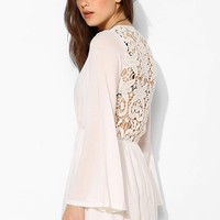 Reverse Crocket-Back Long-Sleeve Dress - Urban Outfitters