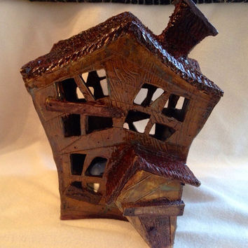 HALLOWEEN SALE Creepy Condemned Haunted house fairy house Halloween decoration Handmade OOAK gorgeous hand built Art pottery