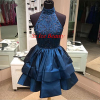 Backless Royal Blue A Line Winter Formal Short Gown Halter Beaded Sequins Satin Tiered Dress
