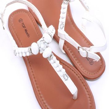 WHITE FAUX LEATHER BEADED T-STRAP SLING STRAP SANDALS