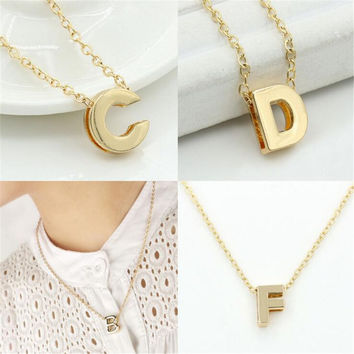 2016 new hot sale fashion Women's Metal Alloy DIY Letter Name Initial Link Chain Charm Pendant Necklace