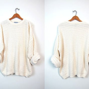 Chunky Knit Sweater Fishermen Sweater Off White Cream Oversized Preppy Pullover Boyfriend Loose Knit COZY Sweater Unisex Men's XL