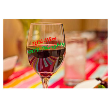 Holiday Wine Glass ~ Dear Santa I Can Explain ~ for wife, funny x-mas gifts, coworker, hostess, pass the prize, funny glasses with sayings