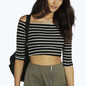 Andrea Striped Bardot Rib Crop Top