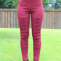 High Waist Distressed Jeggings {Wine}