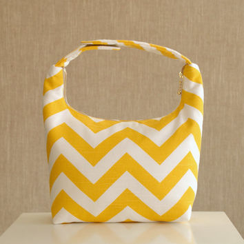 InsulatedInsulated Lunch Bag, Lunch Bag, Lunch Bag For Women , Chevron Lunch Tote, Reusable Lunch Tote-Yellow Chevron