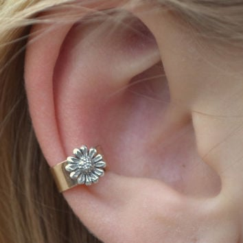 Sunflower Ear Cuff - Sterling Silver and14K Gold Filled - SINGLE SIDE