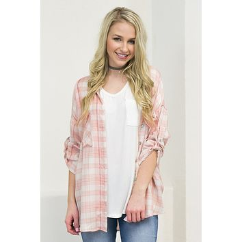 Peaches 'n Cream Plaid Top