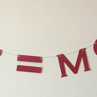 E=MC2 Graduation Party Banner, Genius Grad Party Garland, Primary Color Choice Teen Room Dorm or Office Wall Hanging