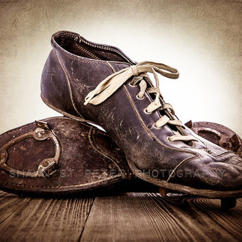 ON SALE Vintage Football Cleats 8x10 print , Decorating Ideas, Wall Decor, Wall Art,  Kids Room, Rustic Decor, Vintage Sports, Man Cave,
