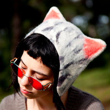 Unique handmade felt hats - Cat hat  (Ready to ship)