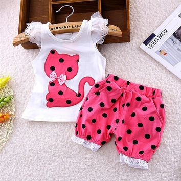 BibiCola Baby Girls Summer Clothing Sets kids Casual Clothes Cartoon cat dot set 2pcs T-shirt Sports Suit for Baby Girl clothes