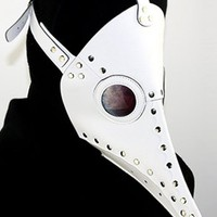 Atomic White Dr. Plague Bird Mask with Silver Rivets