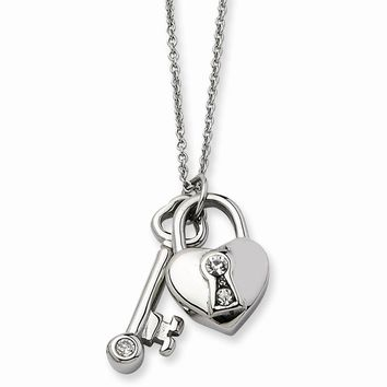 Stainless Steel Heart Lock & Key w/ Crystals 17 w/ 2in Ext Necklace