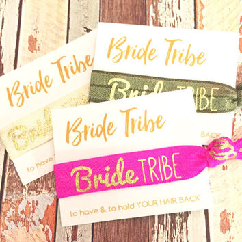 Bachelorette Party Favors Hair Ties // Bride Tribe [GoldBTHelloBeatfl] - Gift Her Bridesmaids // MOH - Survival Kit // To Have and To Hold