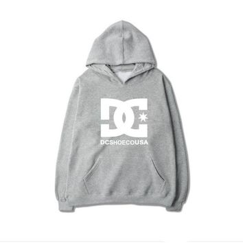 Tide brand DC skateboard classic hip-hop team BOY men and women autumn and winter fleece sweater hoodies Gray