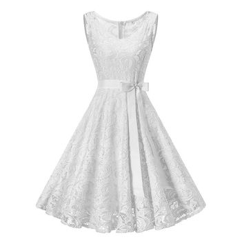 Vintage White Floral Lace Tunic Dress Women Sleeveless V-Neck Elegant Party Sexy Dresses Retro 50s Summer Robe Big Swing Dress