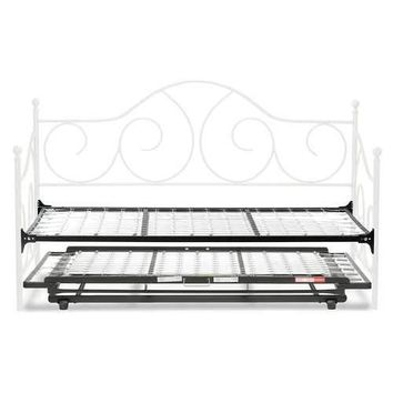 Twin White Metal Daybed Frame with Pop Up Trundle Bed
