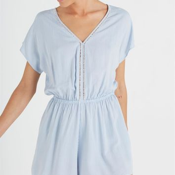woven camille cap sleeve romper