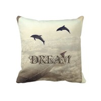 Flying with Dolphins Pillow from Zazzle.com