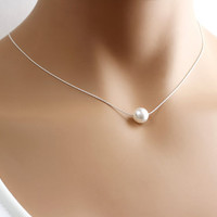 Single Pearl Necklace, Bridesmaid Necklace, Minimalist Necklace, Simple Everyday Jewelry, Bridesmaid Gift, Christmas Gift