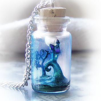 Nightmare Before Christmas scene bottle necklace, Tim Burton inspired