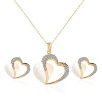DUOVIN Fashion Jewelry Set Crystal Heart Shape Pendant Necklace For Women Trendy Romantic Jewelry Gift For Female Free Shipping