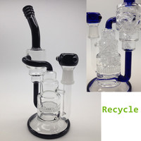 New Glass rigs 2015 hot glass bongs recycler oil rigs with honey comb and two recycle bubble glass water bong in stock