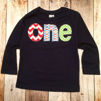 Navy one Birthday Shirt - long sleeves red, chevron, Pez, green circles- Boys 1st Birthday- 1 year old cake and party theme Baby photography ideas