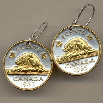 Gorgeous 2-Toned  Gold on Silver Canadian  Beaver  Coin Earrings