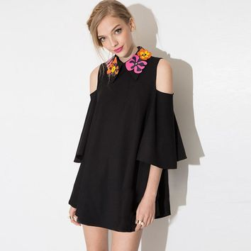 PLT Black Floral Applique Mini Dress