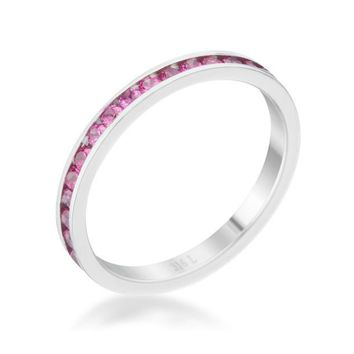 Teresa Ruby Silver Eternity Stackable Ring | 1ct | Cubic Zirconia | Stainless Steel
