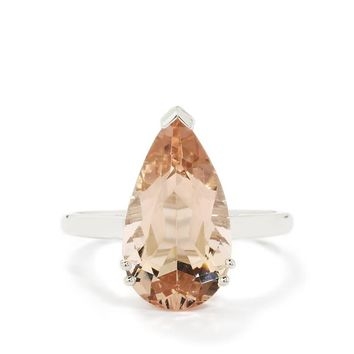 4.25ct Zambezia Morganite 9K White Gold Ring