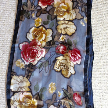 Vintage Print Scarf Sheer Semi Sheer Striped Silk Designer Signed AK Anne Klein Navy w/ Red Gold Roses 10 x 52 inch Long Scarf
