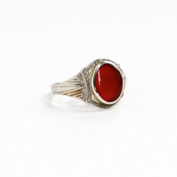Vintage 10k White Gold Filigree Carnelian Ring - Antique Belais Size 7 Art Deco 1920s 1930s Dark Red Gemstone Fine Embossed Jewelry