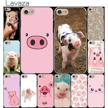 Lavaza funny cute lovely pig Hard White Coque Shell Phone Case for Apple iPhone 8 7 6 6S Plus 5 5S SE 5C 4S X 10 Cove