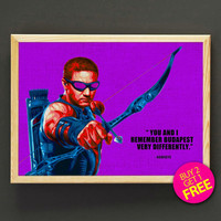 Hawkeye Art Print Superhero Avengers Poster Pop Art House Wear Quote Wall Art Decor Gift Linen Print - Buy 2 Get FREE- 154s2g