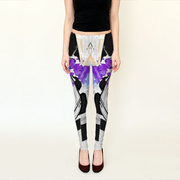 Printed Leggings - Printed Yoga Pants - Yoga Pants - Purple Leggings - Active Wear - Printed Tights - Spandex Leggings