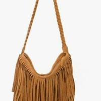GA#6 Camel Tassel Celebrity Fringe Shoulder Messenger Cross Body Bag Handbag