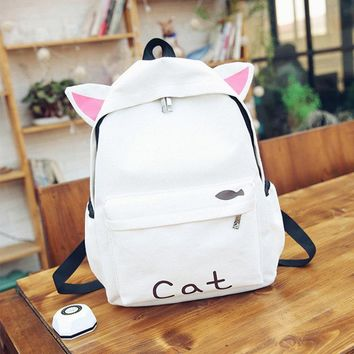 Women Canvas Cute Rabbit Cartoon Backpack Students Cute Schoolbag