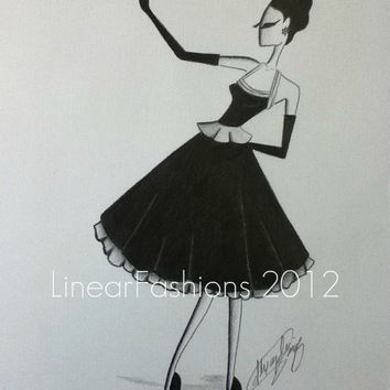 50s Party Dress Fashion Illustration Original by LinearFashions