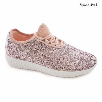New Women Sequin Glitter Lace Up Sneakers Lightweight Walking Athletic Shoes