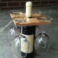 Party of Four hardwood rack for wine bottle and four glasses.  Salvaged wood, 1.99 shipping within U.S.  Great hostess gift.