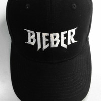 Embroidered Baseball Hat Cap BIEBER Justin Bieber Purpose Tour Merch Black Tumblr Aesthetic Hipster