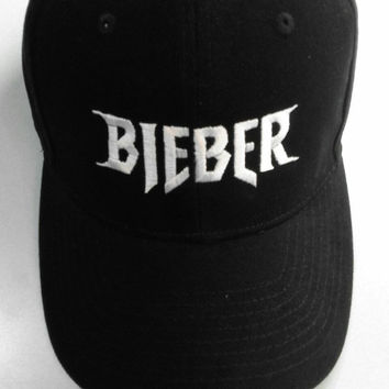 6fbc605c18f Embroidered Baseball Hat Cap BIEBER Justin Bieber Purpose Tour Merch Black  Tumblr Aesthetic Hipster
