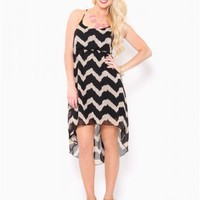 Chiffon Chevron High-Low Dress