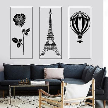 Wall Mural Paris Eiffel Tower Rose Romantic Hot Air Balloon  z2856