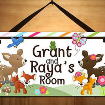 Kids Door Sign Boy Girl Twin Forest Bedroom Nursery Personalized Name DS0348