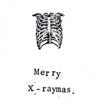 10 Pack Merry X-Raymas Card | Skeleton Funny Science X-Ray Atheist Medical Humor Gothic Holiday Seasons Greetings Christmas Nurse Doctor