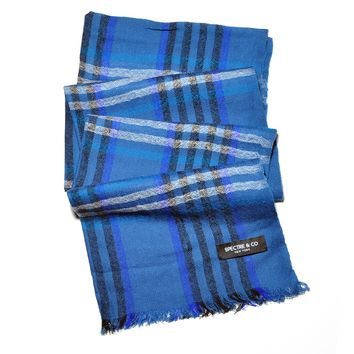 Blue Check Lambswool Scarf